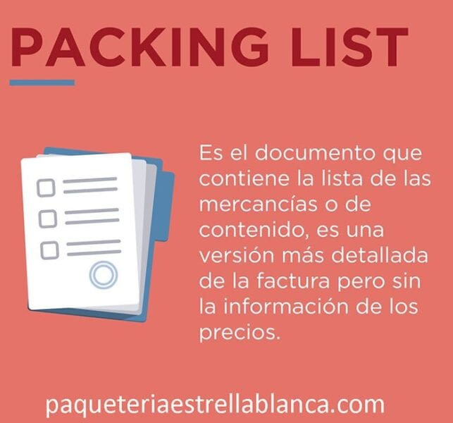 definicion de packing list